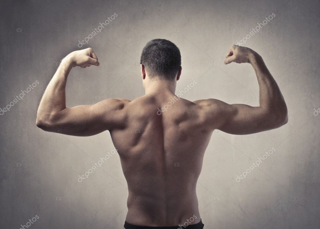 Rear view of a muscular  man — Stock Photo #7788144