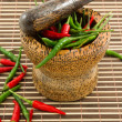 Chilies in wooden mortar — Stock Photo