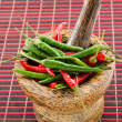 Wooden mortar with chili — Stock Photo