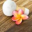 Tropical spa with Frangipani flower — Stock Photo