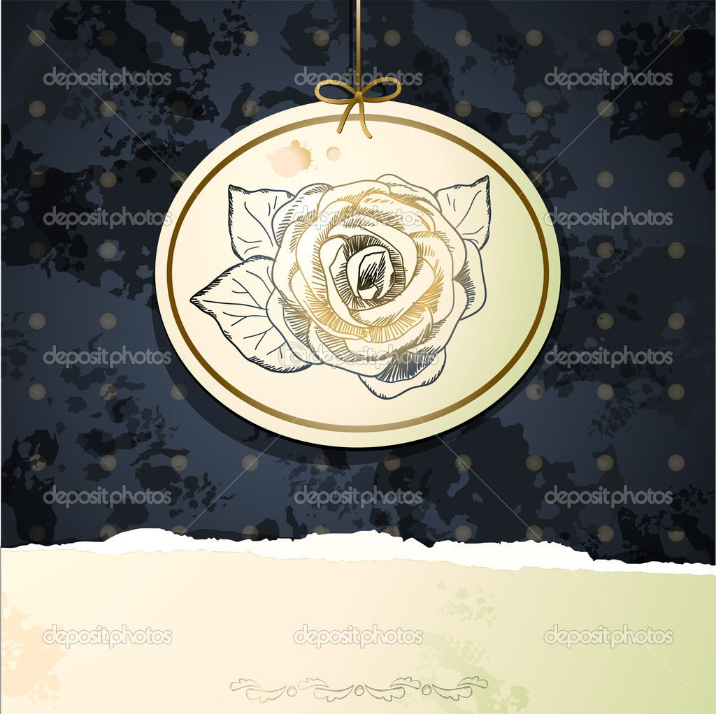Vintage background with rose, vector  — Stock Vector #7275098