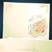 复古背景与玫瑰、 矢量 — 图库矢量图片