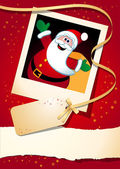 Christmas background with funny Santa — Vettoriale Stock