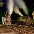 Steam locomotives at night, Oskova, Bosnia and Hercegovina — Stock Photo