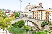 San Miguel church with bridge Puente de la Carcel, Estella, Road — Stock Photo