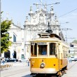 Tram in front of Carmo Church (Igreja do Carmo), Porto, Portugal - Stock Photo
