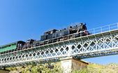Treno a vapore nella valle del douro, portogallo — Foto Stock