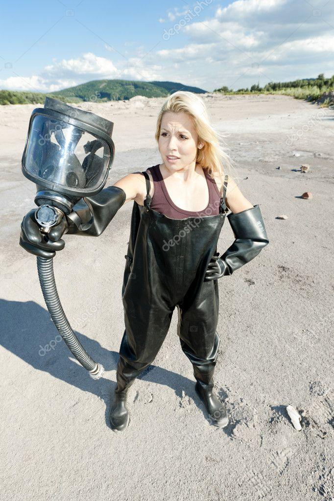 Woman Wearing Gas Mask