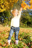Little girl in autumnal nature — Stock Photo