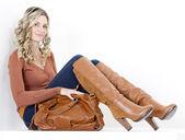 Woman with a handbag — Stock Photo