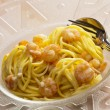 Spaghetti with prawns — Stock Photo