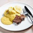 Sirloin on cream with dumplings — Stok fotoğraf