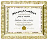 Vector Ornate Diploma and Frame — Stock Vector
