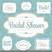 Vector Bridal Shower Frame Set — Stok Vektör
