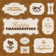 Vector Thanksgiving Frame Set and Fall Pattern — Stock Vector