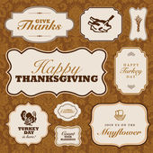 Vector Thanksgiving Frame Set and Fall Pattern — Stock vektor