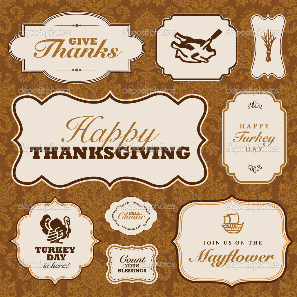 vector thanksgiving frame set and fall pattern stock vector 7329260