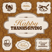 Vector Fall and Thanksgiving Frame Set — Vector de stock