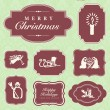 Vector Christmas Ornaments and Frame Set — Stock Vector