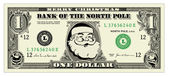Vector Santa One Dollar Bill — Stock Vector
