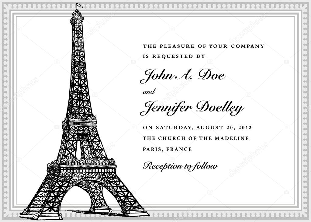 Vector Eiffel Tower Wedding Invitation. Easy to edit. Perfect for invitations or announcements. — Stock Vector #7891737