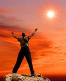 Man figure under sunshine — Stock Photo