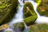 Green stones in mountain river — Stock Photo