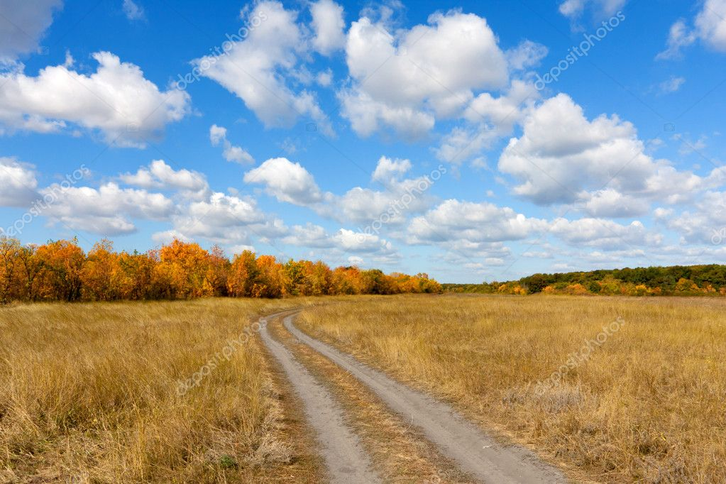 Countryside road in autumn steppe in nice day — Stock Photo #7827461