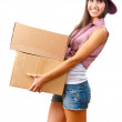 Young girl with cardboard boxes — Stock Photo