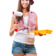 Beautiful young girl is going to paint — Stock Photo