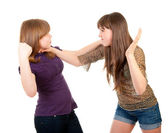 Fighting teen girls isolated — Stock Photo