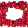 Frame from red rose petals — Stock Photo