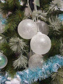Translucent balls on the christmas fir — Stock Photo
