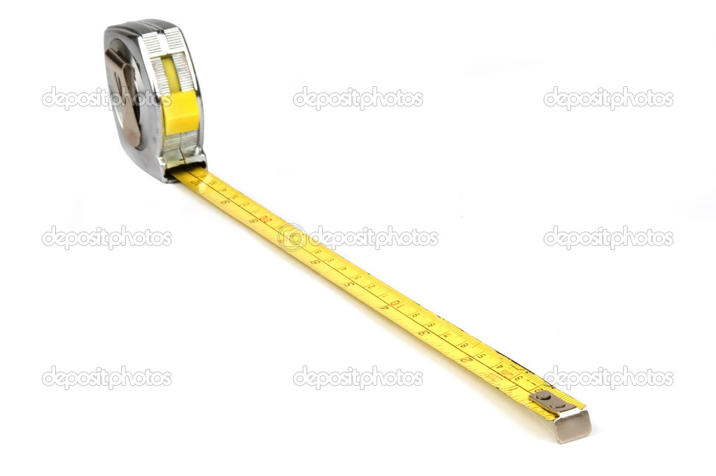 Measuring yellow tape tool over white background — Stock Photo #7135233