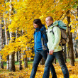 Happy young couple with backpacks in park — Stockfoto #7397853