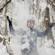 Stock Photo: Man in the winter forest