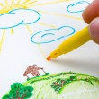 Children's drawing - Stock Photo