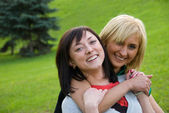 Two young happy girls — Stock Photo