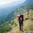 Backpacker hikes in Crimea — Stock Photo