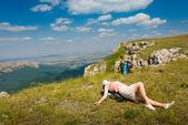 Escursionista felice — Foto Stock