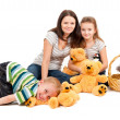 Mother with children sitting portrait — Stock Photo #7659199
