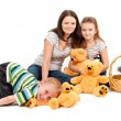Mother with children sitting portrait — Stock Photo