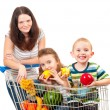Stock Photo: Mother carries her children in a shopping cart