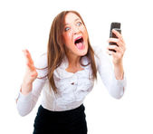Angry businesswoman screaming — Stock Photo