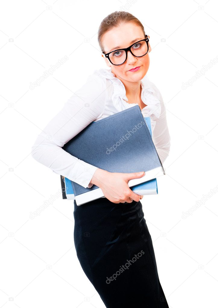 Modest and intelligent business woman holding folders isolated over white background — Stock Photo #7719966