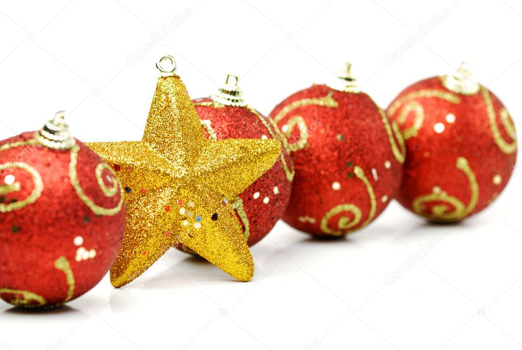 Christmas balls and fir branches,Closeup.  Stock Photo #7497044