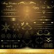 Calligraphic golden design elements — Stock Vector