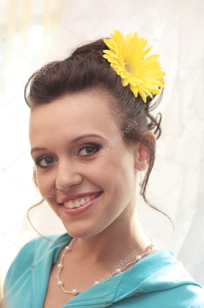 Closeup image of the beautiful smiling young girl  Stock Photo #6813146