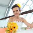 Young smiling bride — Stockfoto