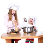 Cute little cooks — Stock Photo